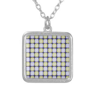 Maya sun glyph pattern on blue background silver plated necklace