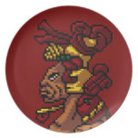 Maya Tribal God of Masculinity Head Pixel Party Plate