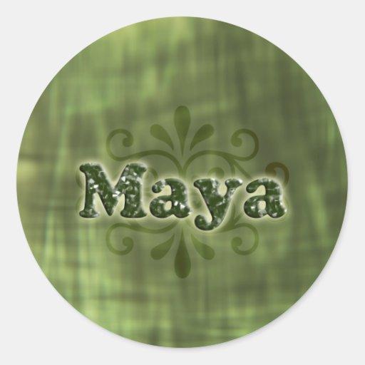 Maya verde pegatina redonda