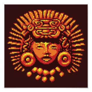 Maya Woman Tribal Headdress Pixel Art Photo