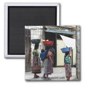 Maya women, Antigua, Guatemala 2 Inch Square Magnet