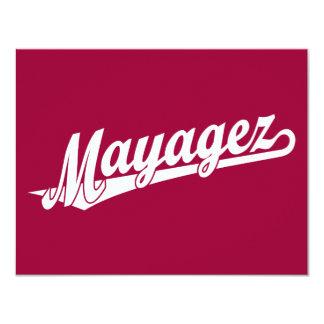 Mayagez script logo in white card
