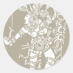 Mayan A Woodblock Sticker