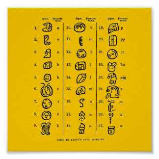 Mayan Alphabet Poster