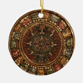 Mayan and Aztec Calendar (Multiple Products) Double-Sided Ceramic Round Christmas Ornament