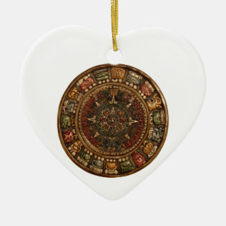 Mayan and Aztec Calendar (Multiple Products) Double-Sided Heart Ceramic Christmas Ornament