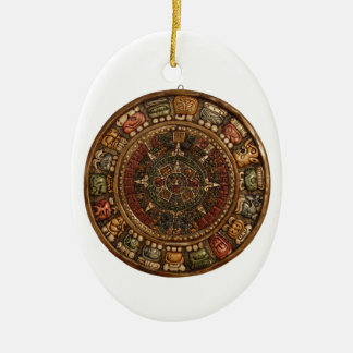 Mayan and Aztec Calendar (Multiple Products) Double-Sided Oval Ceramic Christmas Ornament