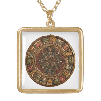 Mayan and Aztec Calendar (Multiple Products) Gold Plated Necklace