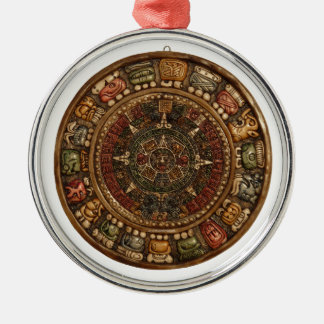 Mayan and Aztec Calendar (Multiple Products) Round Metal Christmas Ornament