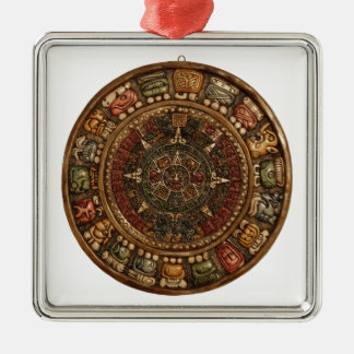 Mayan and Aztec Calendar (Multiple Products) Square Metal Christmas Ornament
