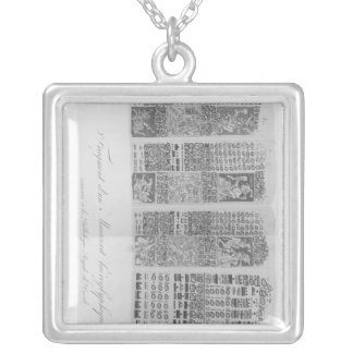 Mayan astronomical tables with the eclipses silver plated necklace
