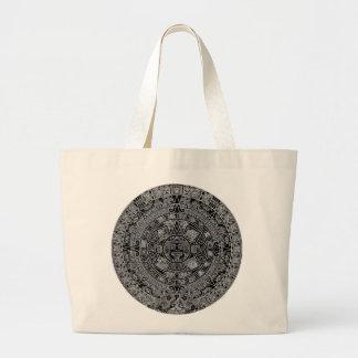 Mayan Aztec Calendar (black) 12.21.2012 Large Tote Bag