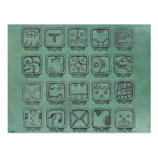 Mayan Aztec Day Signs on Green Postcard