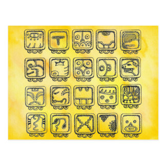 Mayan Aztec Day Signs on Yellow Postcard