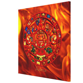 Mayan\Aztec Sun Calendar & Flames Art Print