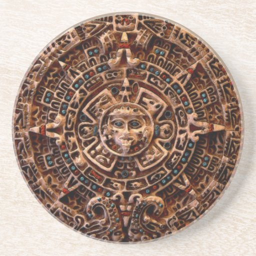Mayan, Aztec Sun Calendar Sandstone Coaster
