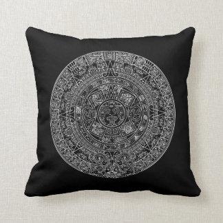 Mayan Aztec Sun Calender on ANY CUSTOM COLOR Throw Pillow