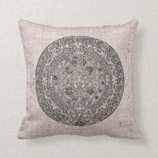 Mayan Aztec Sun Calender on Burlap Throw Pillow