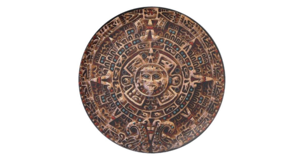 Mayan Aztec Sun Disk Ancient Calendar Art Plate Zazzle Com