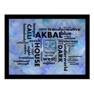 Mayan-Aztec word cloud Akbal Calli Postcard