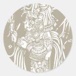 Mayan B Woodblock Round Stickers