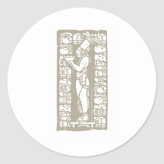 Mayan Bowl Woodblock A Classic Round Sticker