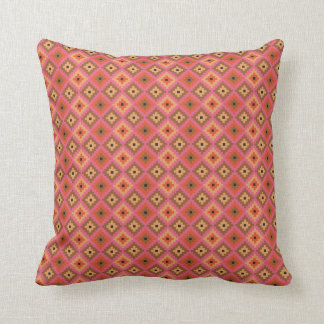Mayan Brick Pattern | Pink, Orange, Tan Throw Pillow