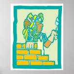 Mayan Bricklayer Print