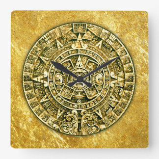 Mayan Calendar (12 Hour Dial) Square Wall Clocks