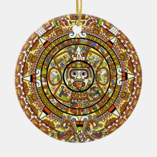 Mayan Calendar 2012 End of the World Prophesy Double-Sided Ceramic Round Christmas Ornament