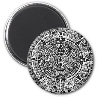 Mayan Calendar Black 2 Inch Round Magnet