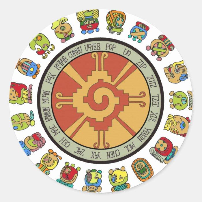 Round Calendar Design : Mayan calendar design classic round sticker zazzle