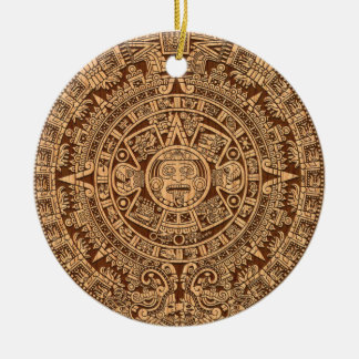 Mayan Calendar Double-Sided Ceramic Round Christmas Ornament
