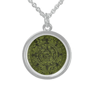 Mayan Calendar Gold Embossed Necklace