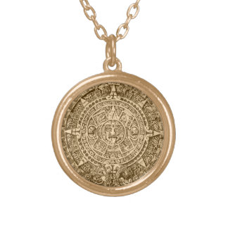 mayan calendar gold plated necklace