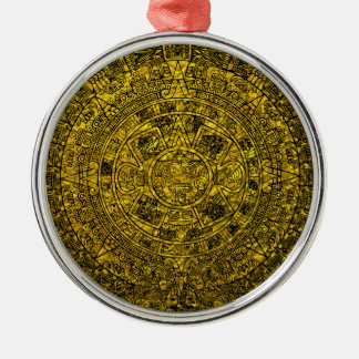 Mayan Calendar Round Metal Christmas Ornament