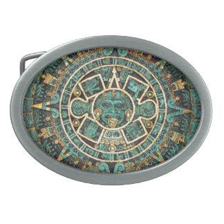 Mayan Calendar Oval Belt Buckle