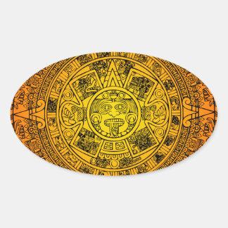 Mayan Calendar Oval Sticker