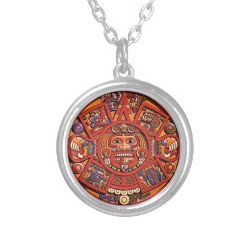 Mayan Calendar Round Pendant Necklace