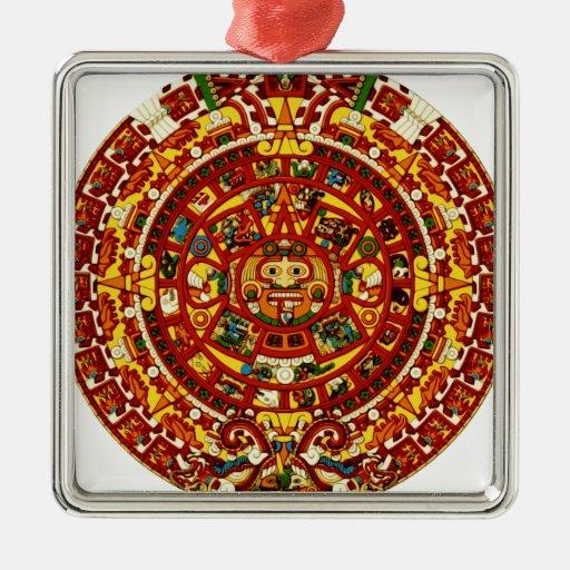 mayan calendar square metal christmas ornament