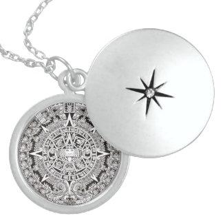 Mayan Calendar Sterling Silver Locket Necklace