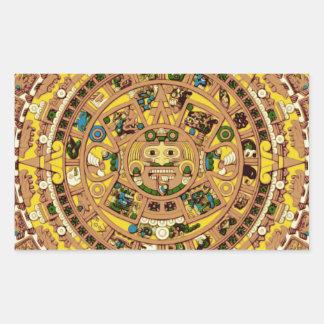 mayan calendar rectangle stickers
