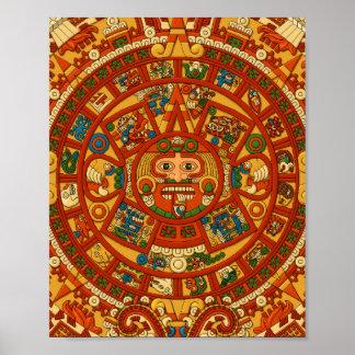 Mayan Calendar Stone Print