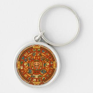 'Mayan Calendar Stone' Silver-Colored Round Keychain