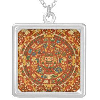 'Mayan Calendar Stone' Square Pendant Necklace