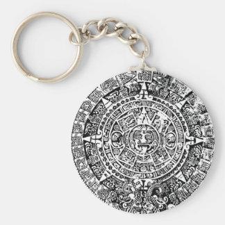 Mayan Calendar White Keychain