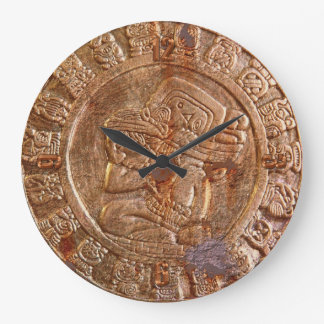 Mayan Carved Metal-effect Aztec Mexican History Large Clock