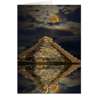 Mayan Chichen Itza Temple & Moon Greeting Card