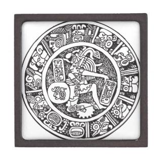 Mayan circle, Mexican hieroglyph(Maya) Keepsake Box