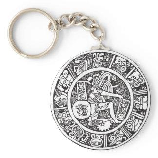 Mayan circle, Mexican hieroglyph(Maya) Keychain